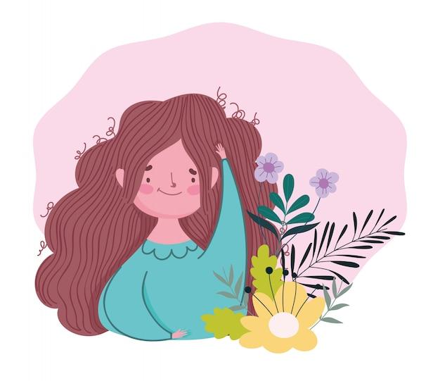 Feliz día de la madre, decoración de flores de dibujos animados mujer morena