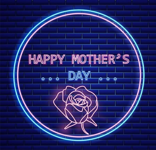 Feliz dia de la madre flor de rosa luz de neón