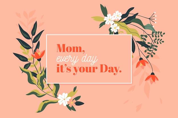 Feliz día de la madre floral y ramas con hojas