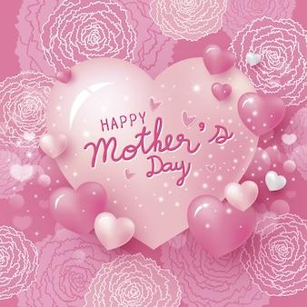 Feliz día de la madre y flores de clavel rosa