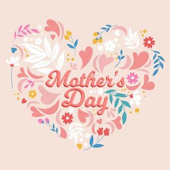 Feliz dia de la madre con flores y corazones