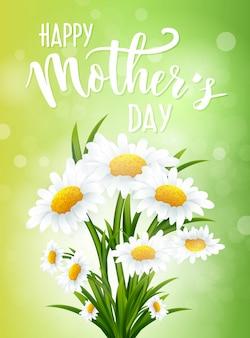 Feliz día de la madre con flores de manzanilla.