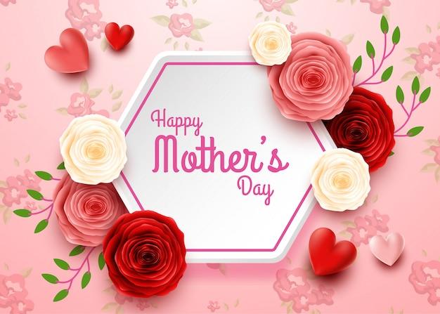 Feliz día de la madre con flores rosas y corazones.