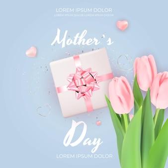 Feliz día de la madre con flores de tulipán realistas
