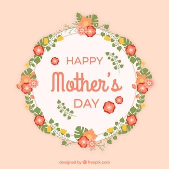 Feliz día de la madre fondo con una corona floral
