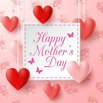 Feliz día de la madre con fondo de flores