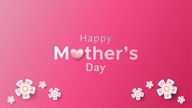 Feliz dia de la madre con forma de corazón y flores