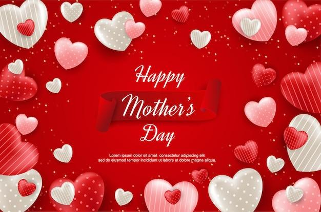 Feliz día de la madre con globo de amor realista sobre fondo rojo.