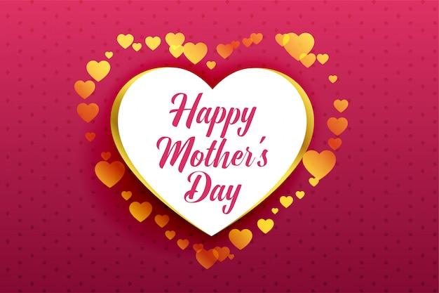 Feliz día de la madre hermoso fondo de corazones