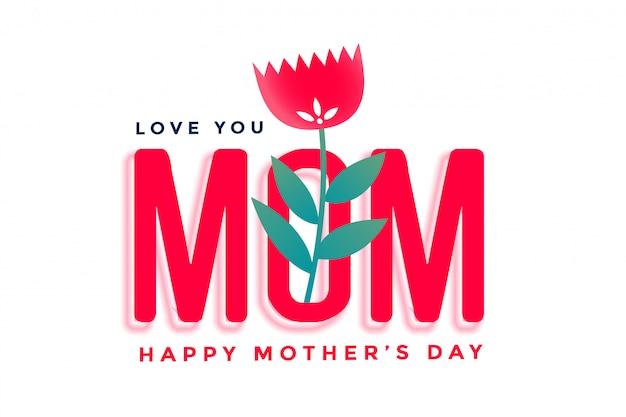 Feliz día de la madre hermoso saludo con flor