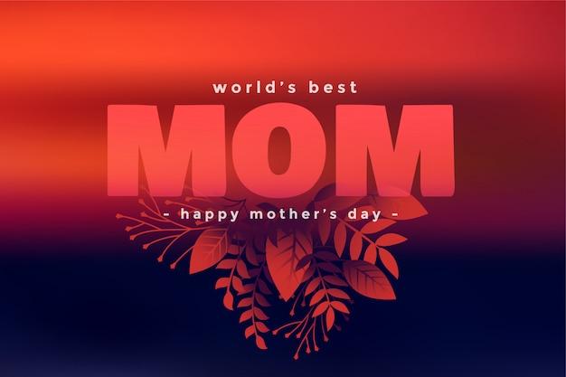Feliz día de la madre hojas decorativas saludo
