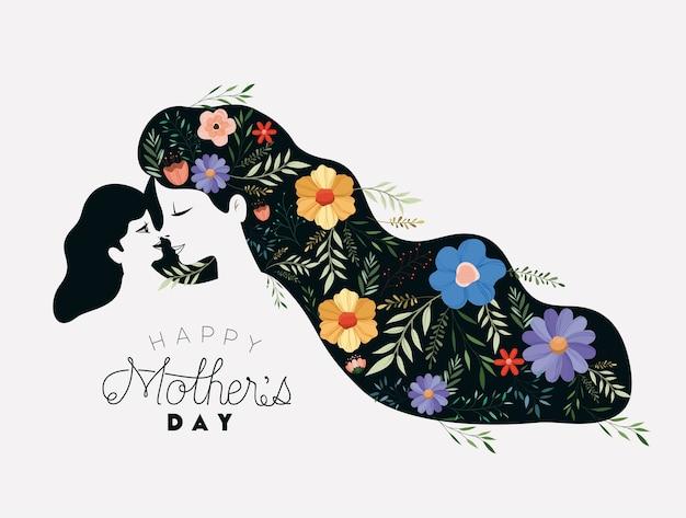Feliz día de la madre levantando a una hija