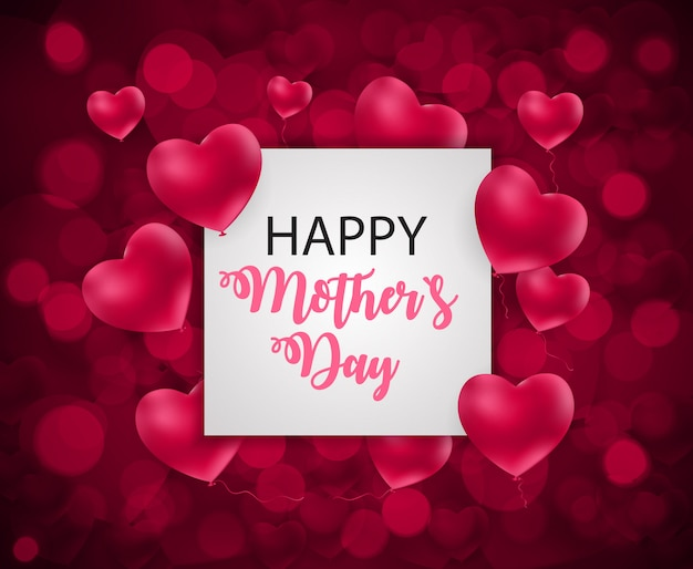 Feliz día de la madre linda bandera con marco de corazones