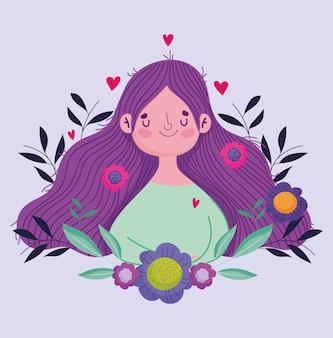 Feliz día de la madre, linda mujer flores en tarjeta de felicitación de celebración de cabello