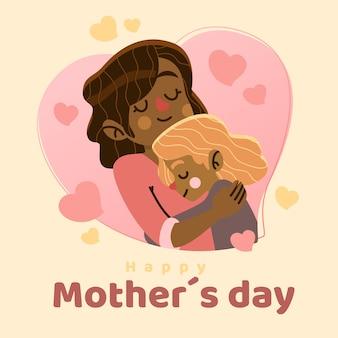 Feliz día de la madre con madre abrazando a niño