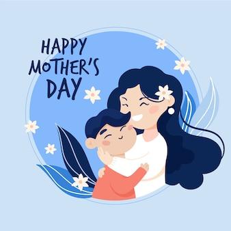 Feliz día de la madre madre y niño diseño plano