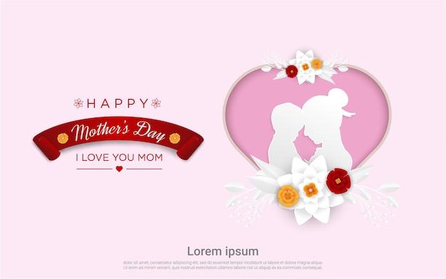 Feliz día de la madre con mamá e hijo y amor papercut