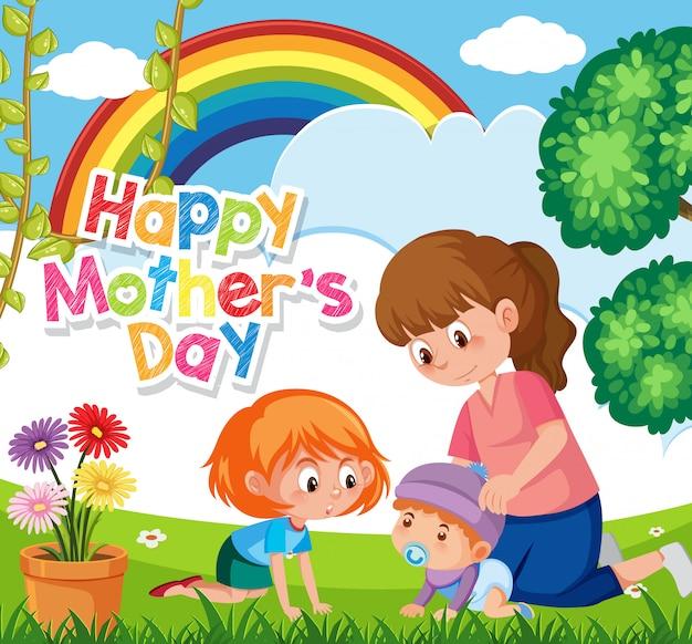 Feliz día de la madre con mamá e hijos en el parque
