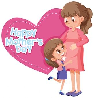 Feliz día de la madre con mamá y niña