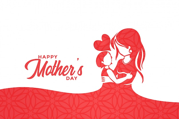Feliz día de la madre, mamá y niño aman diseño de saludo
