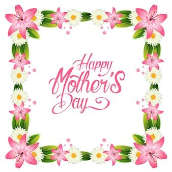 Feliz día de la madre con marco de decoración de lirio y gerbera