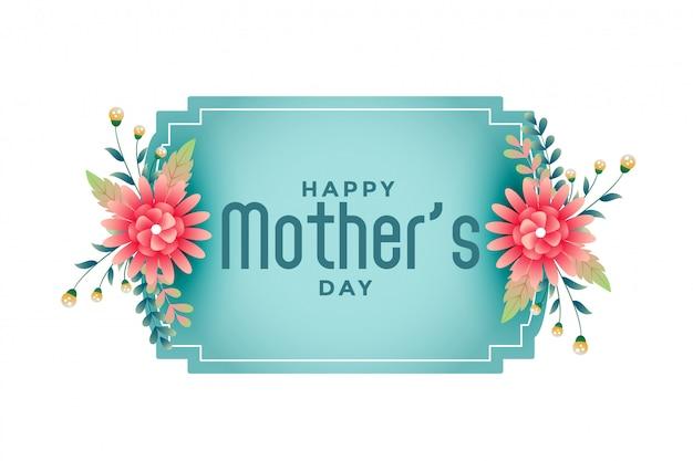 Feliz día de la madre marco de flores hermoso fondo