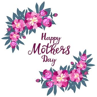 Feliz día de la madre. marco de saludo con peonías.