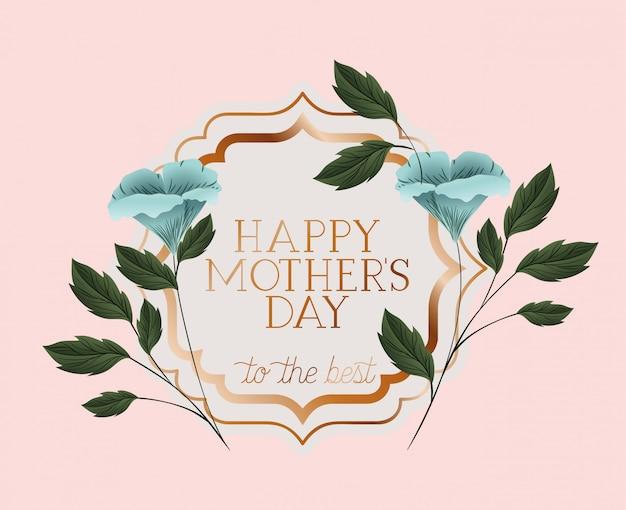 Feliz día de la madre marco victoriano con flores