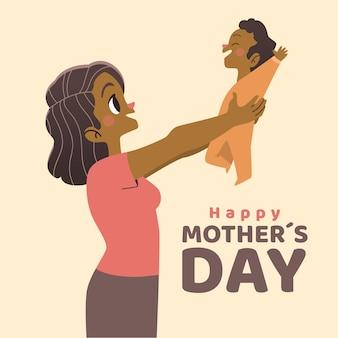 Feliz dia de la madre con mujer y niño