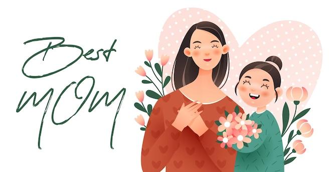 Feliz día de la madre. la niña le da a su madre un ramo de flores.