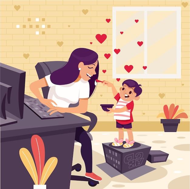 Feliz día de la madre niño pequeño alimentando a su madre y expresando su amor