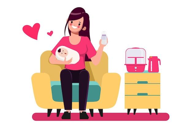 Feliz día de la madre personaje dibujado a mano dibujos animados madre alimentando bebé plantean conjunto