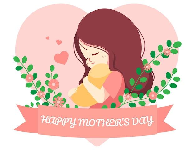 Feliz día de la madre personaje dibujado a mano ilustración de arte de dibujos animados