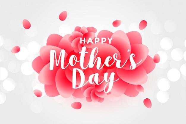 Feliz día de la madre con pétalos de rosa.