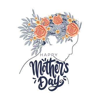 Feliz dia de la madre saludos con perfil de mujer