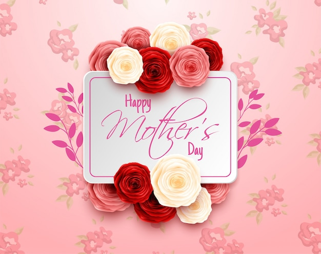 Feliz día de la madre sobre fondo de flores