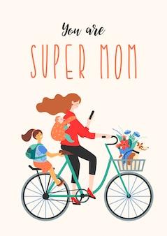 Feliz día de la madre. super mamá en bicicleta con niños y un perro.