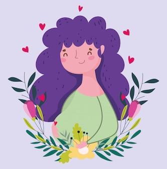 Feliz día de la madre, tarjeta de decoración de retrato de flores de mujer