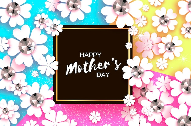Feliz día de la madre. tarjeta de felicitación floral blanca con piedras brillantes. flor de corte de papel. vector