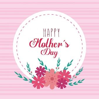 Feliz día de la madre tarjeta y marco circular con decoración de flores