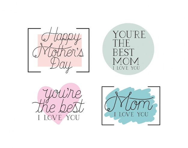 Feliz día de la madre tarjeta de mensajes de caligrafía
