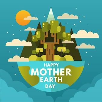 Feliz día de la madre tierra con árboles y nubes
