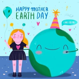 Feliz día de la madre tierra con mujer dibujada a mano celebrando con el planeta