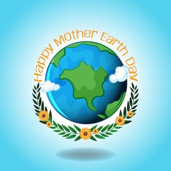 Feliz día de la madre tierra con tierra y cielo azul