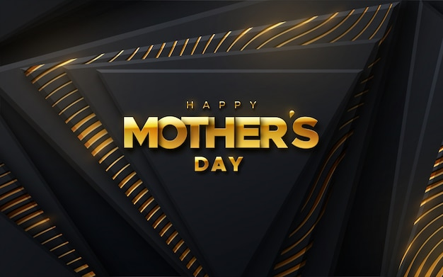 Feliz día de la madre. vector ilustración de vacaciones de etiqueta dorada sobre fondo geométrico negro con brillos y patrones brillantes.