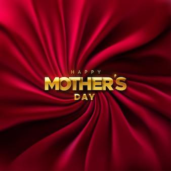 Feliz día de las madres cartel dorado sobre fondo de tela de terciopelo rojo
