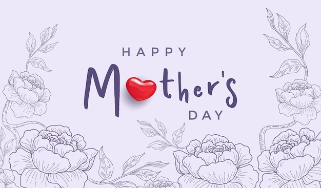 Feliz día de las madres con corazón rojo realista y tarjeta dibujada a mano de línea de flores.