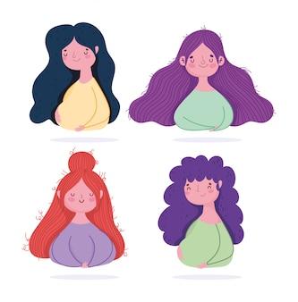 Feliz día de las madres, diseño de retrato de dibujos animados de personajes de mujeres