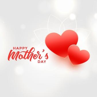 Feliz día de las madres dos corazones rojos de fondo
