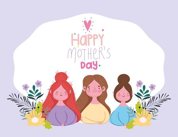 Feliz dia de las madres, grupo mujeres flores ramas decoracion